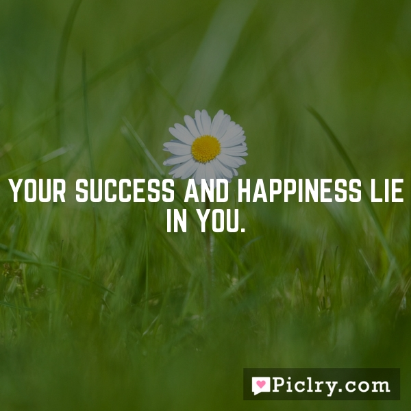 Your success and happiness lie in you.